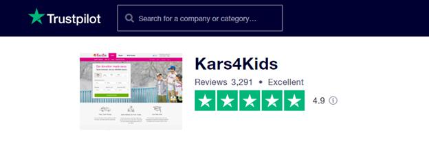Kars4kids TrustPilot page
