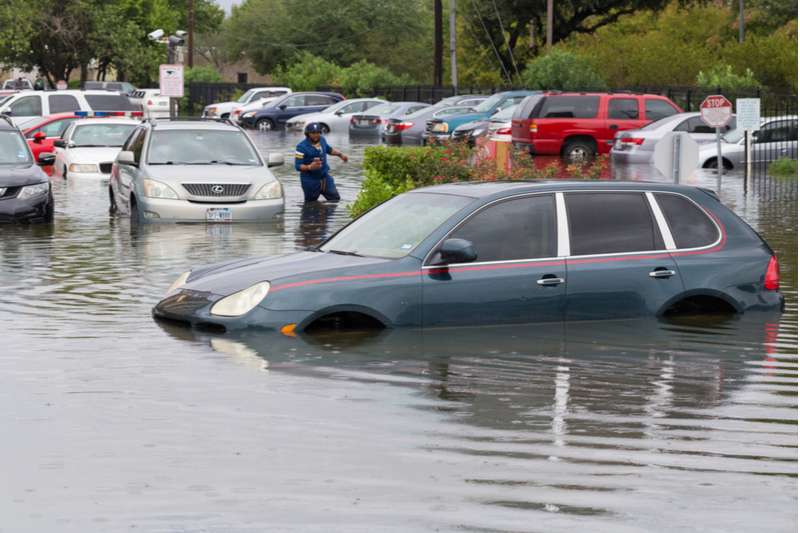 car under water from Isaias