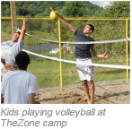 Children playing volleyball at the Kars4kids sponsored camp