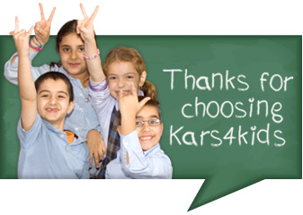 Group of happy kids thanking donors for choosing Kars4Kids